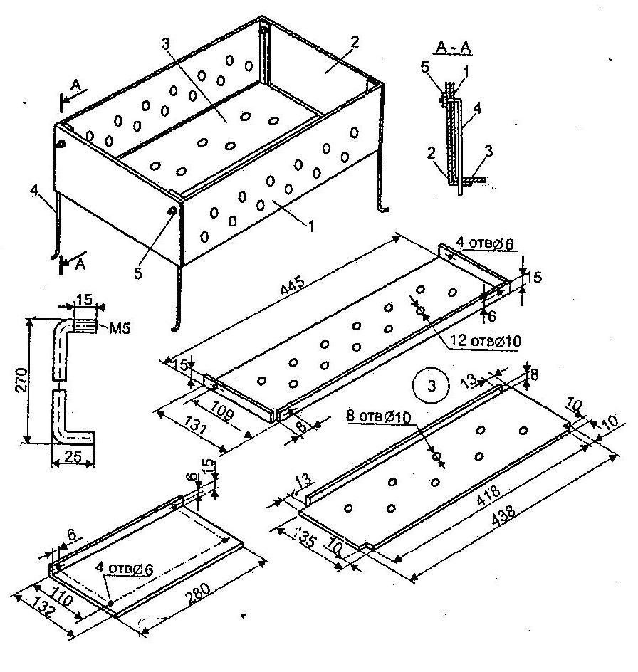Как сделать мангал с поддувалом из металла схемы чертежи