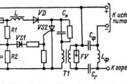 Принципиальная электрическая схема возбудителя дуги с импульсным питанием
