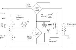 Электронная схема аппарата для контактной сварки