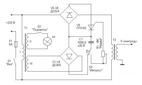 Электронная схема аппарата для