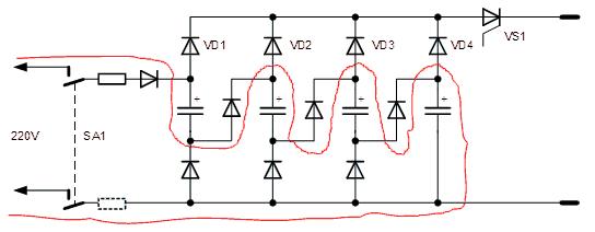 Схема контактной сварки на конденсаторах