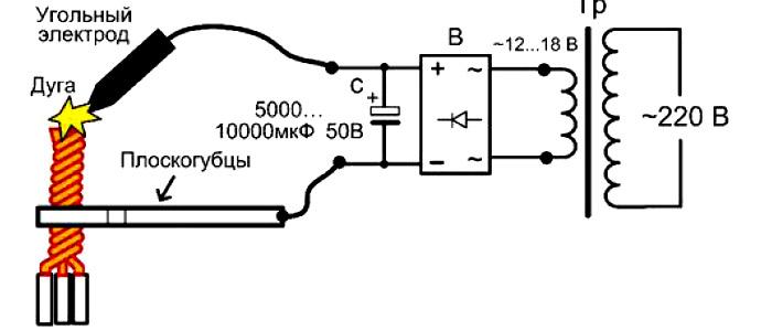 Схема сварки проводов угольным